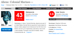 Metacritic Page for Aliens: Colonial Marines